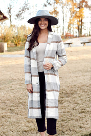 Plaid Long Trench Coat
