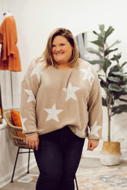 Taupe and White Star Sweater PLUS