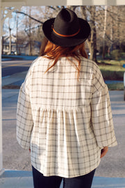 Long Sleeve Plaid Top PLUS