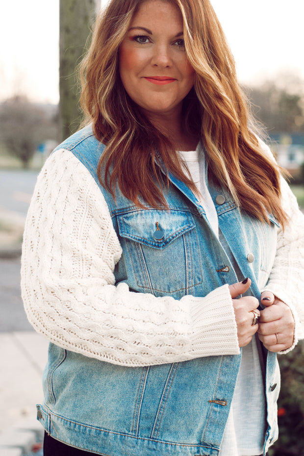 Denim Jacket W/ Sweater Sleeve Detail PLUS