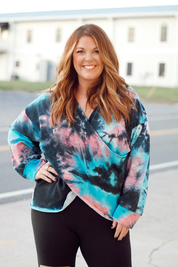 Tie Dye Long Sleeve Wrap Top PLUS