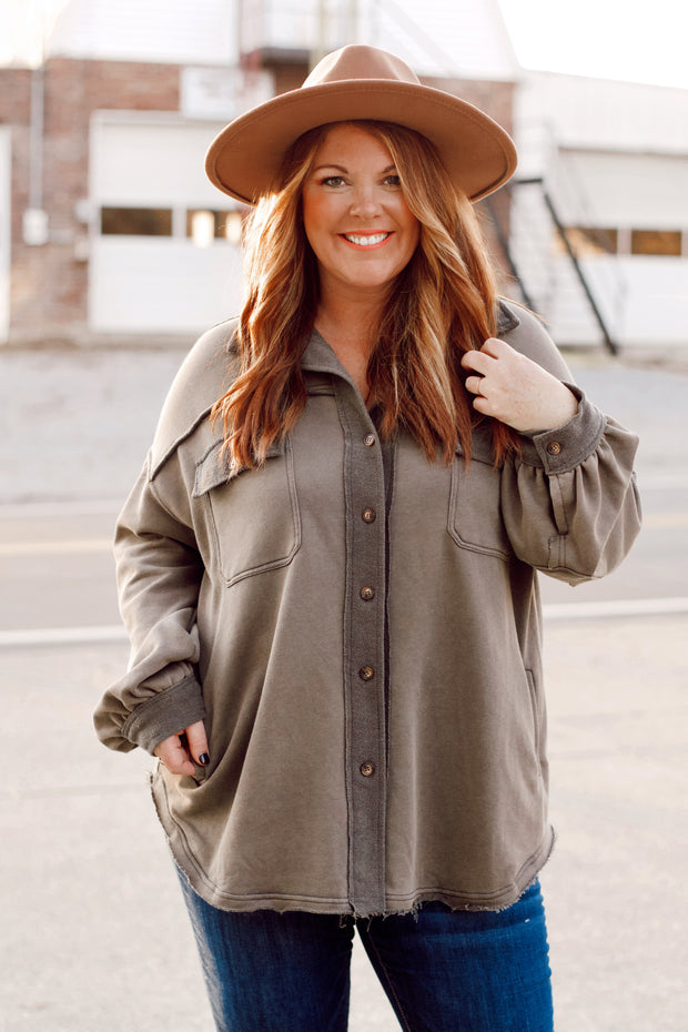 Knit Mineral Wash Jacket W/ Buttons PLUS
