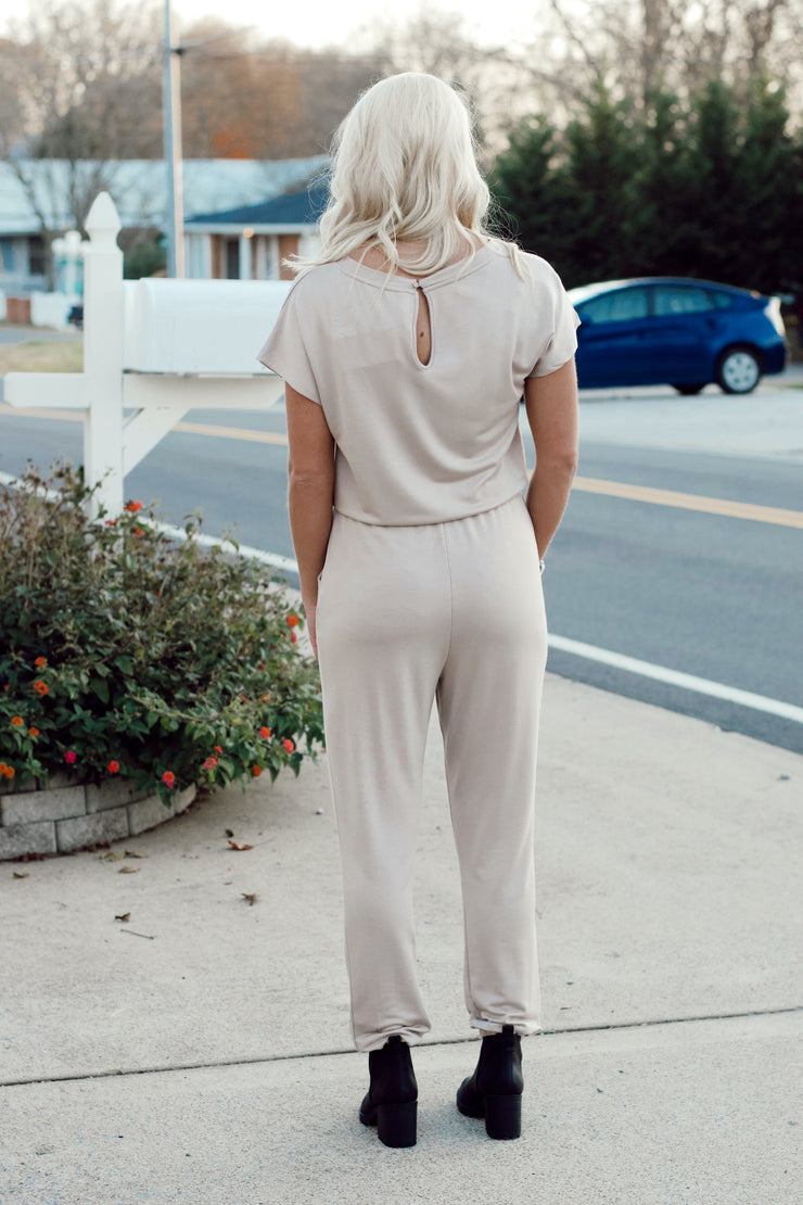 Casual Knit Jumpsuit W/ Back Key Hole