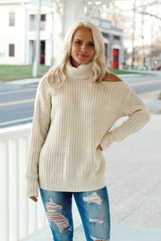Knit Turtleneck Open Shoulder Sweater