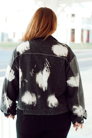 Night White Orchids Bleached Terry Jacket PLUS