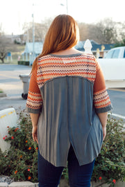 Multi-Colored Stitch Detail Top W/Split Back