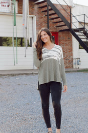 Olive Tie-Dye Long Sleeve Ribbed Shirt