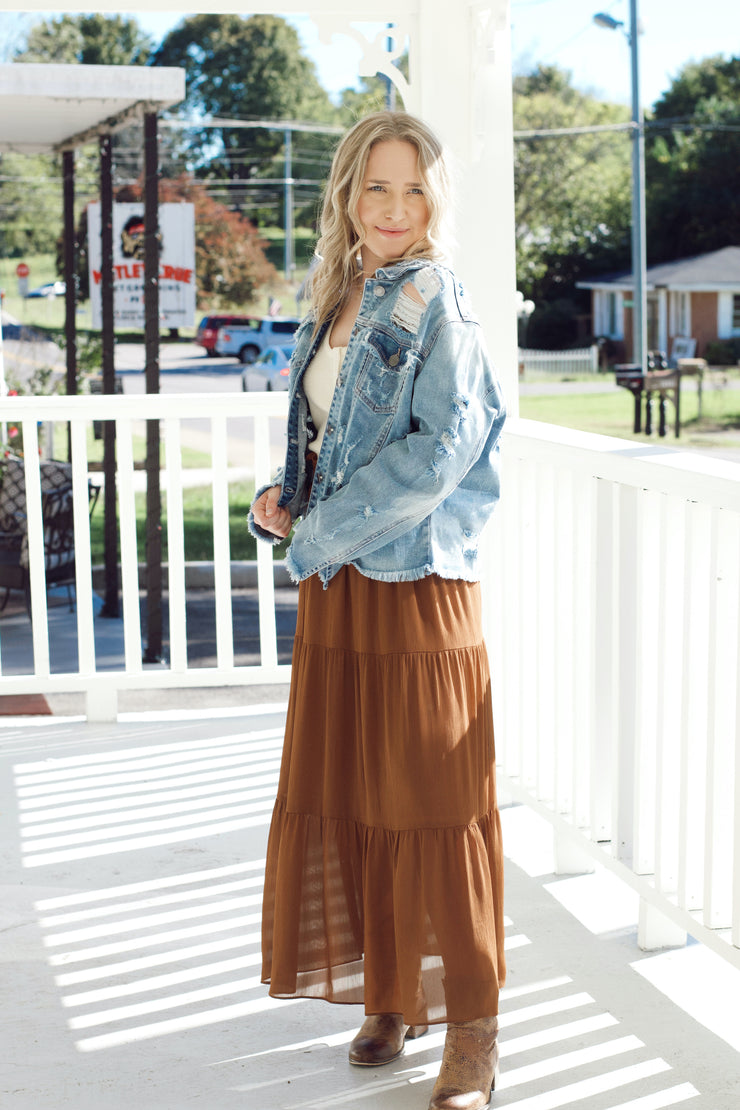 Rust Tiered Maxi Skirt