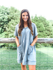 Grey Short Sleeve Raw Edged V-Neck Dress with Pockets
