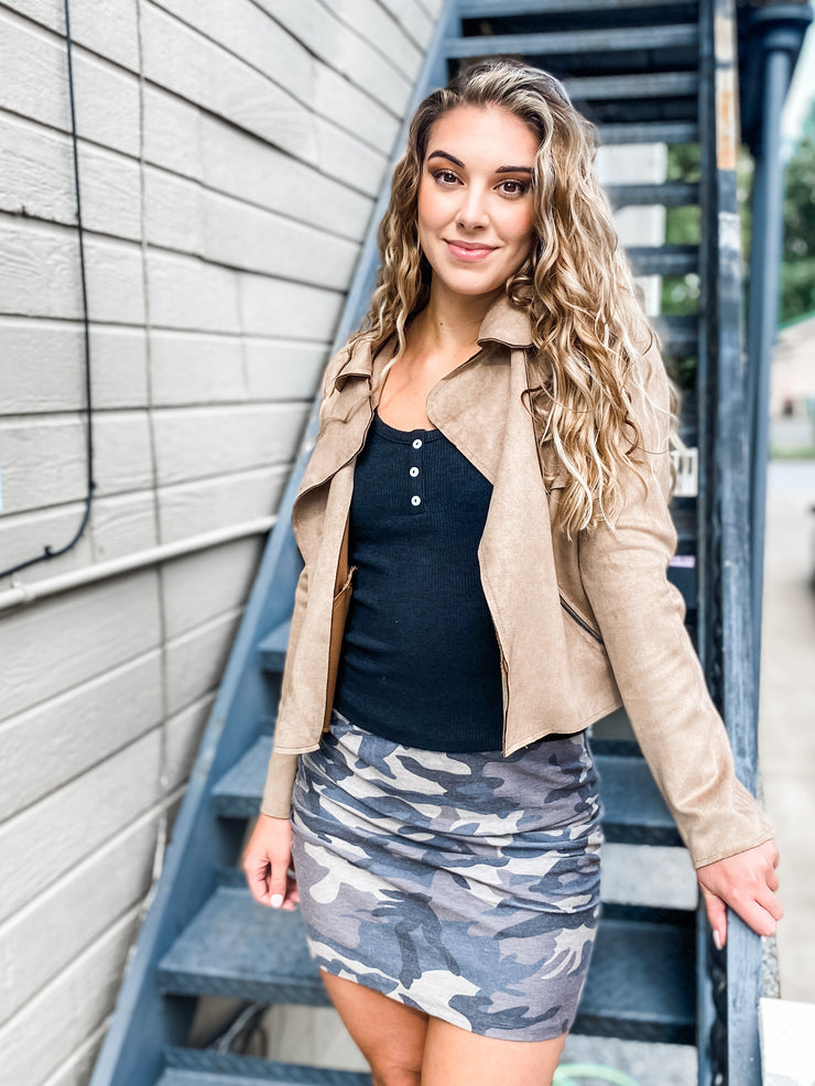 Camo Knit Rouched Skirt