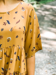 Mustard Floral Print Tiered Ruffle Dress