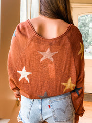 Rust Lightweight Multi Colored Star Sweater
