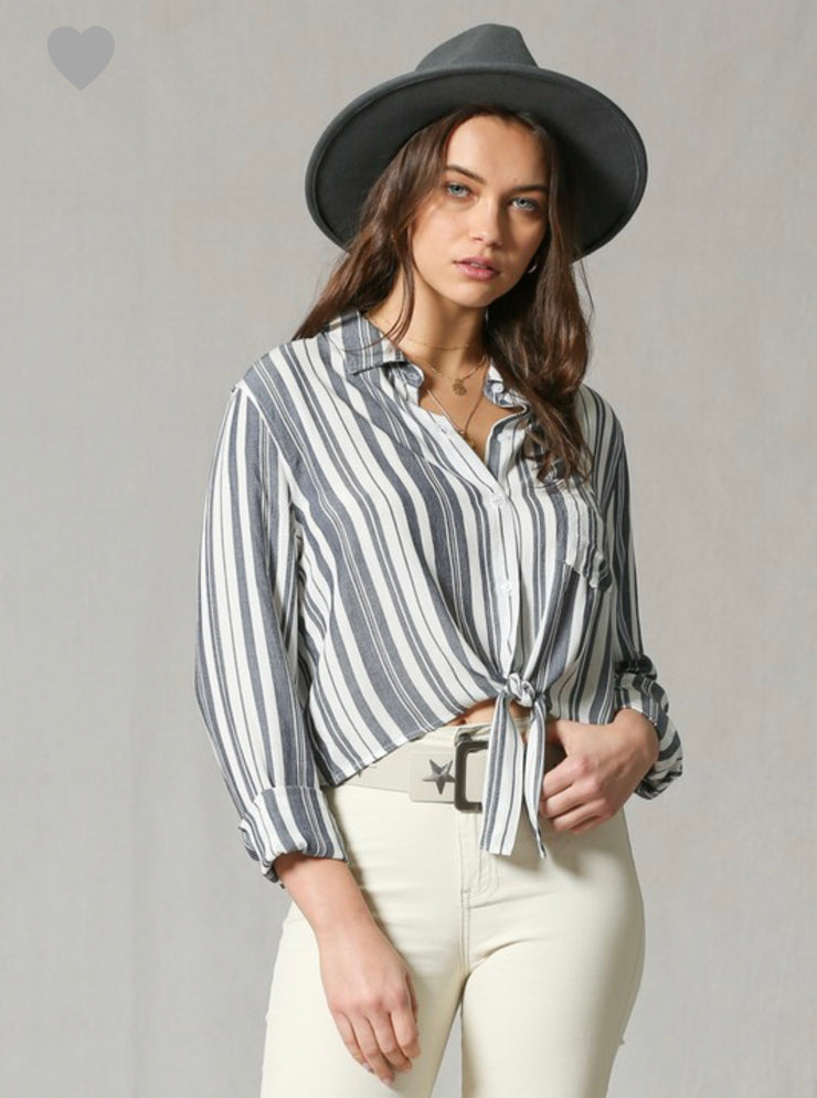 Navy Striped Button Down Collared Tie Front Top