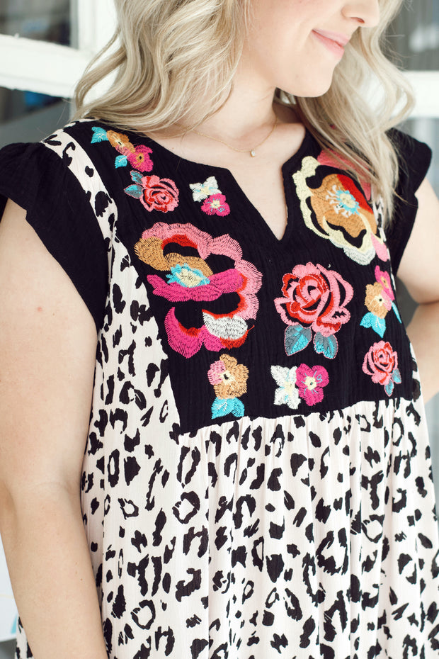 Floral Embroidered Leopard Mini Dress