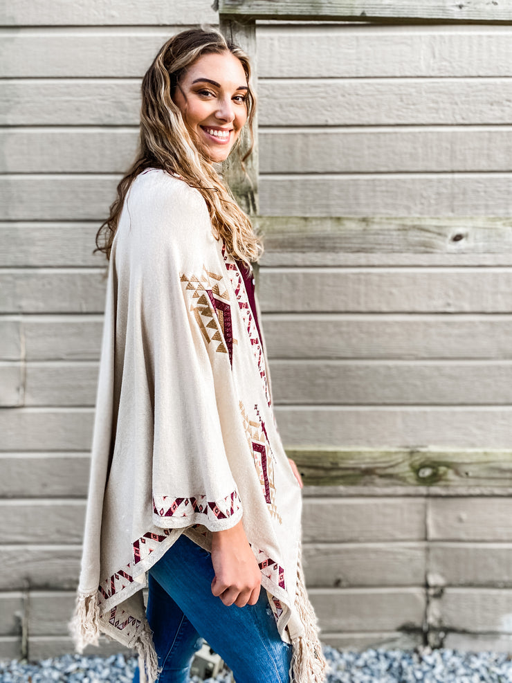 Southwestern Embroidered Poncho Caridgan
