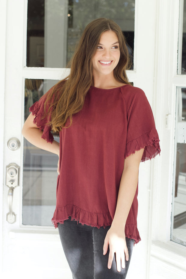 Raw Hem BabyDoll Top PLUS