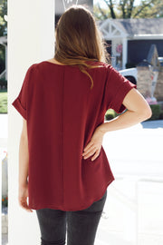 Cuffed Short Sleeve Blouse