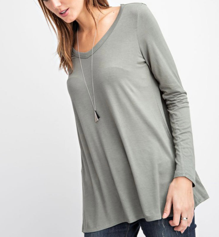 V Neck Long Sleeve Basic Top PLUS