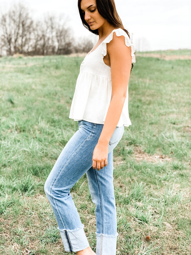 High Rise Straight Jeans with High Cuff