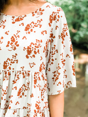 Taupe/Rust Floral Printed Tiered Ruffle Dress
