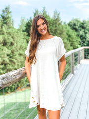 Linen Short Sleeve Dress w/Button Detail