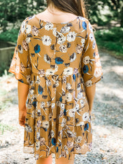 Camel Floral Boho 3/4 Sleeve Dress