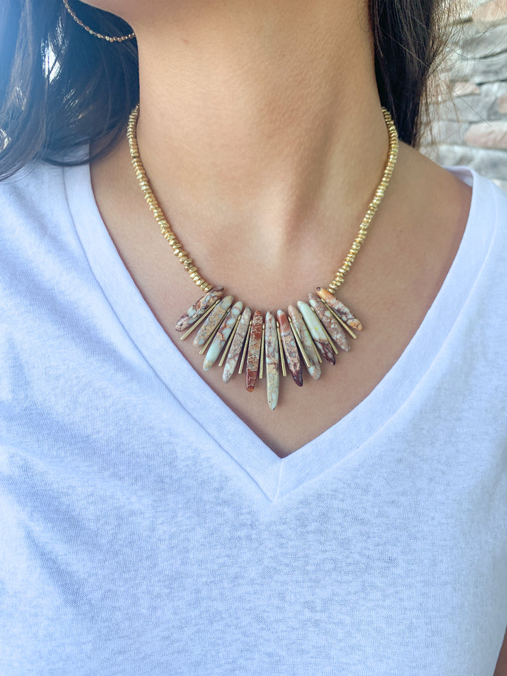 Una Natural Stone Statement Necklace