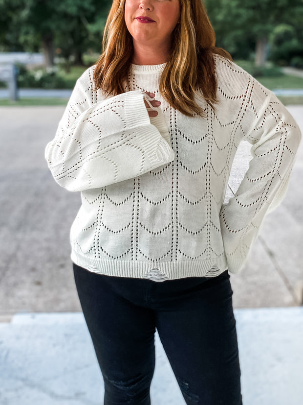 Scallop Knit Ivory Pullover Sweater PLUS