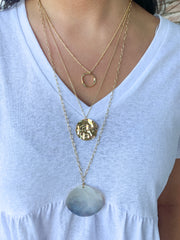 Castles Long Chain Layered Necklace with Round Shell Pendant