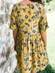 Yellow Leaf Print Short Sleeved Deep V Dress