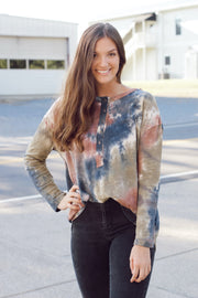 Mocha Combo Tie-Dye Long Sleeve Top