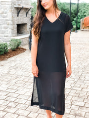 Sheer Midi Shift Dress