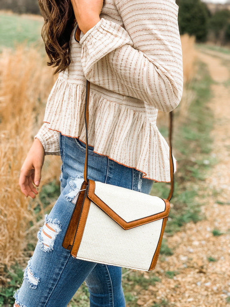 Woven Envelope Closure Structured Crossbody