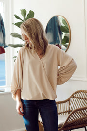 Solid V-Neck Wrap Top W/ Bubble Sleeve