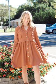 Long Sleeve Dress W/ Buttons PLUS