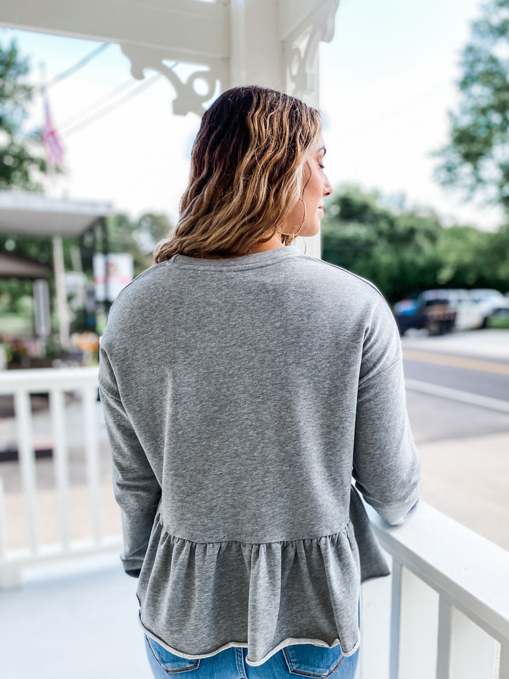 Solid Cropped Peplum Sweatshirt