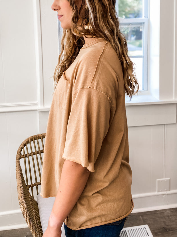 Short Sleeved Solid Oversized Pocket Tee
