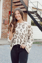 Cream and Olive Leopard Hooded Knit Sweater