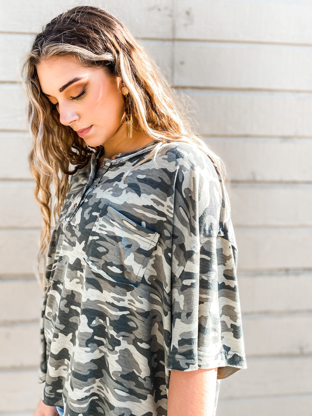 Camo Boxy Soft Knit Top
