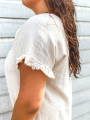 Linen Fringed Short Sleeve Dress with High-Low Scoop Hem