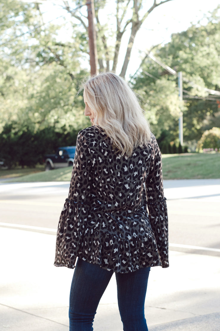 Leopard Knit Top W/ Bell Sleeves