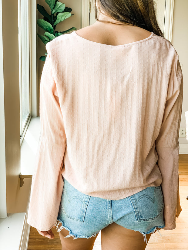 Rose Bell Sleeve Tie Front Top