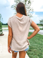 Short Sleeve Raw Edged V-Neck Tiered Top