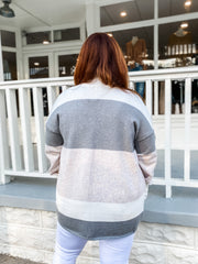 Tri-Color Color Block Open Cardigan PLUS