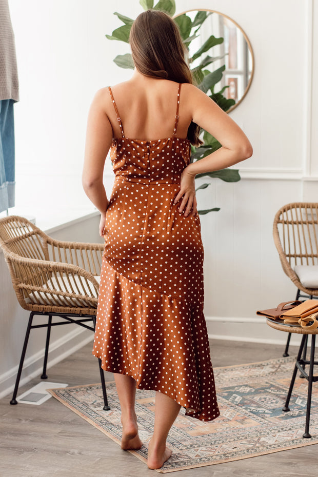 Rust Polka Dot Midi Dress