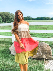 Colorblocked Off-Shoulder Ruffle Dress