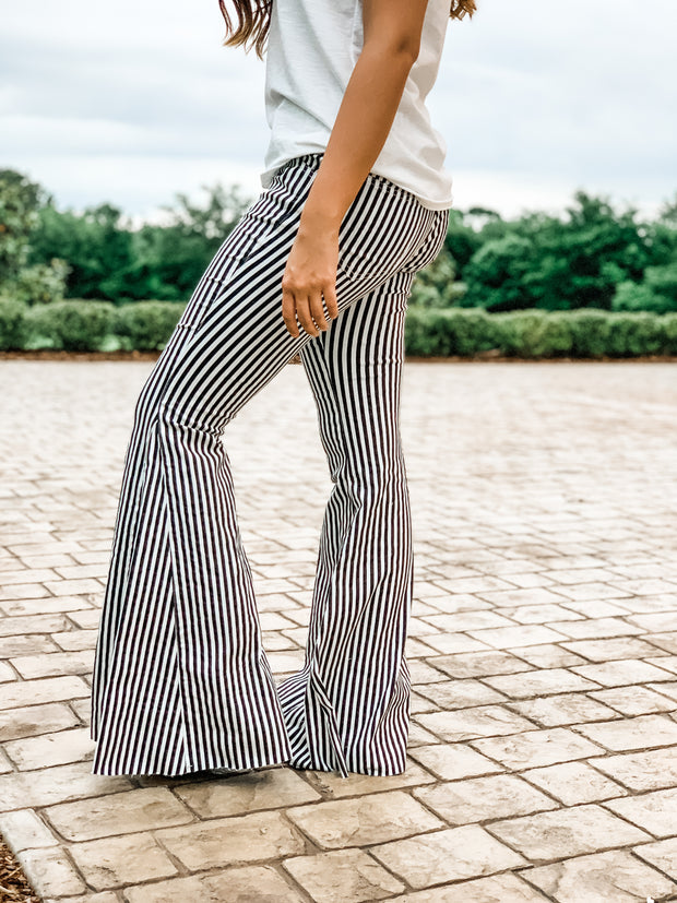 Black and White Striped Bell Bottom High Waisted Jeans
