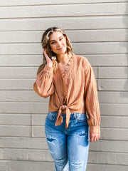 Tie Front Ruffled Button Down Top