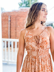 Orange Paisley Sleeveless Maxi Dress