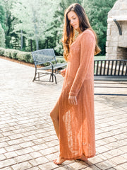 Rust Maxi Sweater Duster PLUS